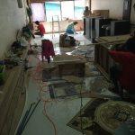 タニヤプラザの向かいのビルの4階の新店舗美容院の今日の工事内容