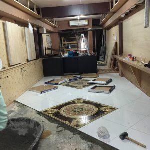 バンコクATAMAサロンの床の貼り付け工事